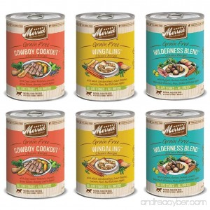 Merrick Classic Recipe Canned Dog Food Variety Pack - (2) Wilderness Blend (2) Cowboy Cookout & (2) Wingaling - B01N7KLR29