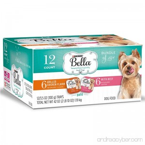 Purina Bella Bundle of Joy With Grilled Chicken & Beef Flavors Adult Wet Dog Food Variety Pack - Twelve (12) 3.5 oz. Trays - B0756NDC3D