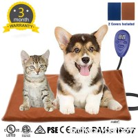 Asltoy Pet Heating Pad Dog Cat Electric Warming Mat Heat Pad Pet Mat Warming Pad Waterproof Adjustable Chew Resistant Cord Warming Bed with 2 Replace Soft Removable - B077N9SP92