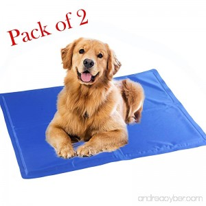 Flycreat Dog Cooling Mat Cool Gel Mat Chilly Gel Pad for Pet Dogs Cats Cooling Bad Mats Pack of 2 - B07F5BVZ22