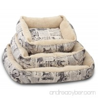 Paws & Pals Pet Bed for Cat and Dog Crate Pad - Deluxe Premium Bedding with Cozy Inner Cushion- Durable Model - 1800's Newspaper Design - B016C88I70
