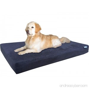 Dogbed4less Orthopedic Gel Infused Cooling Memory Foam Dog Bed for Large Dog Waterproof Liner and Durable Pet Bed Cover XXL 55X37X4 Inch Micro-suede in Espresso - B0737JRNN5