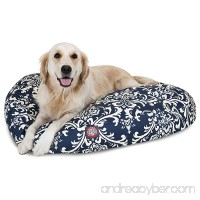 N2 Large White Blue Navy Paisley Pattern Dog Bed  Floral Modern Round Pet Bedding  Bold Fun Print  Features Removable Cover  Plush Comfort Design  Stylish  Polyester - B077PR4XXY