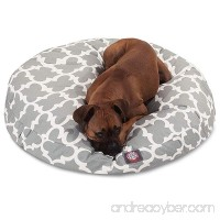 N2 Medium White Grey Trellis Pattern Dog Bed Gray Quatrefoil Modern Round Pet Bedding Bold Fun Print Features Water Stain Resistant Removable Cover Comfort Design Polyester - B07847NNDJ
