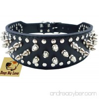 "19""-22"" Black Faux Leather Spiked Studded Dog Collar 2"" Wide  37 Spikes 60 Studs  Pitbull  Boxer - B0053AS5VS"