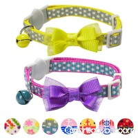 Blueberry Pet Pack of 2 Breakaway Bowtie Cat Collars with Bell - B017W2ZQLG