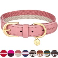 Blueberry Pet Polyester Fabric and Soft Genuine Leather Webbing Dog Collar 8 Colors Matching Leash Available Separately - B06W2FVXS3