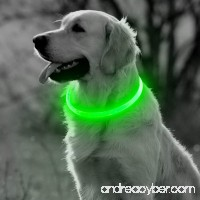 BSeen LED Dog Collar  USB Rechargeable Glowing Pet Collar  TPU Cuttable Dog Safety Lights for Small Medium Large Dogs - B078W5SYLR