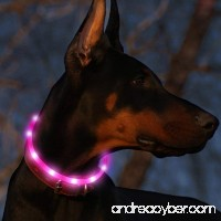 Bseen Led Dog Collar USB Rechargeable Glowing Pet Safety Collars Water Resistant Light up Cut to resize to fit 11-27 for Small Medium Large Dogs - B01KF1ODZQ