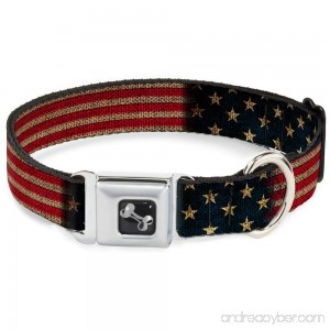 Buckle-Down Seatbelt Buckle Dog Collar - Vintage US Flag Stretch - B00JQOR47S