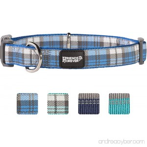 Friends Forever Plaid Dog Collar for Dogs Fashion Woven Checkers Pattern Cute Puppy Collar by Available in Size Small/Medium/Large - B074JQX1HW