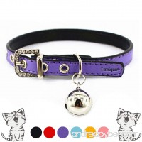 Luniquz Cat Collars with Bell and Buckle Soft Faux Leather and Adjustable for Girls Kitty  Puppy  Small Dogs - B00XEHSMU6