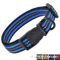 Mile High Life Night Reflective Double Bands Nylon Dog Collar (3 Sizes 4 Colors and Multi-pack Available) - B0719P8YMV