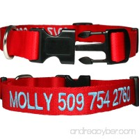Personalized Dog Collars  Custom Embroidered with Pet Name & Number. Available in Soft Leather w/Rounded Edges for Comfort Fit or Woven Nylon w/Snap Closure Buckle. Great Alternative to Pet ID Tags. - B0075XVOYQ
