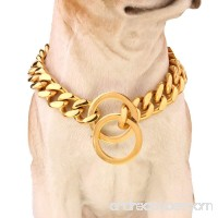 """Fashion Gold Tone Stainless Steel 15mm Curb Dog Pet Chains Collars Necklace 12""""-36"""" - B01JUT9K3Y"""