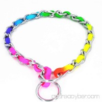 JWPC Rainbow Color Stainless Steel P Chock Metal Chain Training Dog Pet Collars Necklace Walking Training Pet Supplies for Small Medium Large Dogs - B073FN8HVG