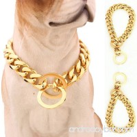 Lansian 13mm/15mm Gold Tone Stainless Steel Dog Collar Pet Dog Choke Chain Dog Necklace 12-34 inch - B07C1NDKVD