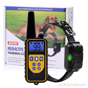 BJKHFD Dog Training Collar Upgraded 2600 Foot Remote Waterproof Rechargeable Dog Shock Collar with Beep Vibration and Shock for Small Medium Large Dog - B079M2JT2D