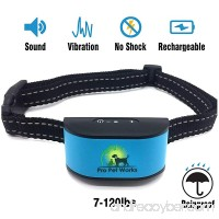 [2017 CHIP] Pro Pet Works RECHARGEABLE No Bark Dog Collar -NO SHOCK (NO POINTY PRONGS) Bark Control Training Collar For Small Medium And Large Dogs 7-120 lbs - B074KZB48H