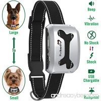 PetAmenity No Barking Control Anti Bark Collar [BEST VALUE/2018 MODEL] Rechargeable/Rainproof/Reflective/7 Sensitivity/Beep/Vibrate/Safe Shock for Large to Small Dogs - B075B37DFM