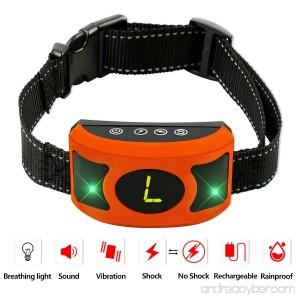 PETOWN [NEW 2018 VERSION FLASHING LIGHTS] Bark Collar with UPGRADED Smart Chip - Best Intelligent Dog Shock Beep Anti-Barking Collar. No Bark Control for Medium/Large Dogs (orange) - B07DMF5B6Y