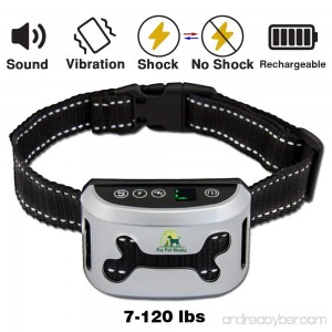 Pro Pet Works Bark Collar By [2018 SMART CHIP] No Bark Collar With VIBRATION And No Harm Static Shock-RECHARGEABLE Bark Control For Small Medium And Large Dogs - B076MMN58V