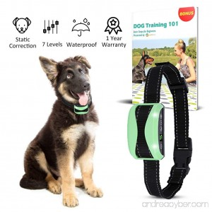 Waterproof Bark Collar + FREE E BOOK Rechargeable Automatic Training System for Small Large Dog | NO SHOCK Harmless | Vibration Beep Static Correction | 7 Adjustable Levels | Gentle yet Effective - B0768KGZRH