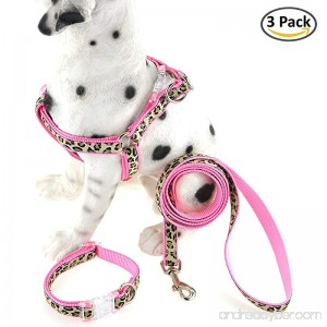 Mile High Life Dog Collar Harness and Leash   Leopard Design   Perfect Accessory For Walking Your Dog - B07DMWHF6X