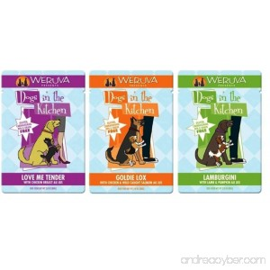 Weruva Dogs In The Kitchen Grain Free Dog Food 3 Flavor Variety 9 Pouch Bundle: (3) Love Me Tender (3) Goldie Lox and (3) Lamburgini 2.8 Oz. Ea. (9 Pouches Total) - B017QHXS80