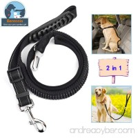 BERENNIS Dog Seatbelt Leash 2 in 1 Adjustable Pet Car Safety Seat Belt and Dog Leash with Elastic Nylon Bungee Buffer-Black - B075MBH2HX