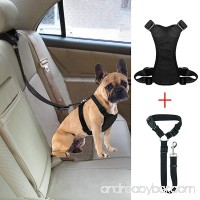 Bwogue Dog Safety Vest Harness With Seat Belt Strap Car Headrest Restraint Pet Dog Adjustable Nylon Mesh Harness Travel Strap Seatbelts Harness - B07BDCHSSB