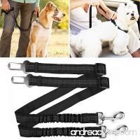 hipidog Pets Seat Belt Leash for Dog Cat  Adjustable Vehicle Seatbelt  Retractable Leash Belt with Reflective Elastic Nylon Fabric - B074SF18HM