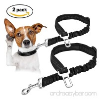 OWNPETS Dog Seat Belt Dog Collar Collection 2 Packs Adjustable Durable Dog Car Safety Seat Belt Leash with Elastic Nylon Bungee Buffer Vehicle Seat Belt Leash for Small Medium Large Dogs (20-30) - B07CQJ7QTJ