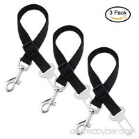 Xubox Dog Seat Belt 3 Packs Pet Dog Cat Car Vehicle Seatbelt Harness Pet Safety Leash Leads for Dogs and Cats Nylon Fabric Material 19 - 27 Adjustable Pet Seat Belt Black - B0746HJHJ2