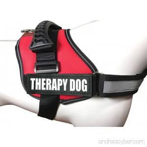 ALBCORP Reflective Therapy Dog Vest Harness Woven Polyester & Nylon Adjustable Service Animal Jacket with 2 Hook and Loop Therapy Dog Removable Patches - B01IIHIZDK