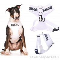 BLIND DOG (Dog Has Limited/No Sight) White Color Coded Non-Pull Front and Back D Ring Padded and Waterproof Vest Dog Harness PREVENTS Accidents By Warning Others Of Your Dog In Advance - B019QAAHFC