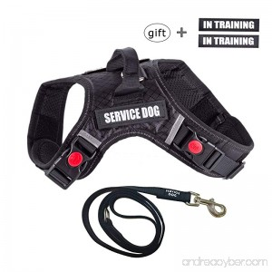 Lightjust Service Dog Vest Harness with Service Dog Patches+ Heavy Duty Dog Leash +IN TRAINING Patches No Pull Dog Harness 3M Reflective Comfort X Dog Harness for Large Medium Small Dogs Black - B079H877LW