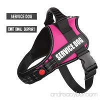 """pawshoppie Real Reflective Service Dog Vest Harness with 2 Free Removable SERVICE DOG and 2 """"EMOTIONAL SUPPORT'' Patches Woven Polyester & Nylon Comfy Soft Padding(Pink) - B079M2JDC7"""