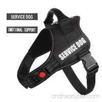"PawShoppie Real Reflective Service Dog Vest Harness with 2 Free Removable SERVICE DOG and 2 ""EMOTIONAL SUPPORT'' Patches Woven Polyester & Nylon Comfy Soft Padding(Black) - B079MC35MD"