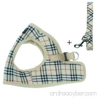 PUPTECK Soft Mesh Small Dog Harness with Leash Basic Plaid Padded Vest for Puppy - B07BKWM8WJ