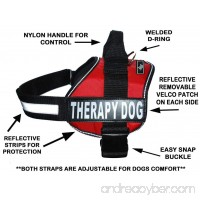 Therapy Dog Harness Service Working Vest Jacket Removable velcro Patches Purchase comes with 2 THERAPY DOG reflective removable patches. Please measure dog before ordering. - B00BOZ4RC2