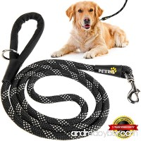 PETTRIS Heavy Duty Reflective Rope Leash for Large and Medium Dogs - 1/2 Inch Thick x 6 Foot Long - Strong Nylon Climbing Rope Lead for Big Dogs with Soft Padded Handle and O-Ring - B075FBWD3C