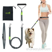 Hands Free Waist Dog Leash 5ft with Bungee and Foam Handle Detachable Waist Belt Fit 28 to 48 3 Reflective Stitching Bungee leash For Jogging Running Walking Hiking include Free Handy Bag - B01MF4ZGCC