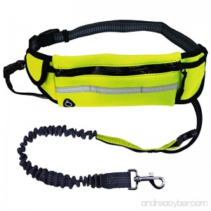 KYC Hands Free Waist Dog Leash Retractable Durable Dual-Handle Reflective Bungee with Adjustable Waist Belt Pouch Bag for Running Jogging Walking Training - B0769JZZ3P