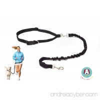 Smiling Pup Hands Free Dog Leash  Premium Running Dog Leash  Lightweight Reflective Bungee Dog Leash  Jogging Walking Waist Belt Dog Leash - B0185054NE