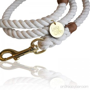 FAYOGOO Lucky Pup Cotton Rope Leash for Dogs- Durable Style and Comfort- 5 Ft. Handmade Natural White Braided Lead for Women Men and Kids (Small Medium Large Dogs) - B076KYRPVP