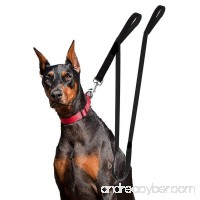 Houseables Extra Long Dog Leash Double Handle Dual Padded Grip 8 ft Length Black Heavy Duty Large/Medium Dogs 2 Handles Greater Control Safety Training Protect Dog in Traffic - B01BG22PQC