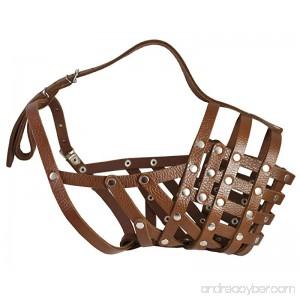 Secure Leather Mesh Basket Dog Muzzle #16 Brown - Great Dane Saint Bernard Mastiff (Circumference 15.5 Snout Length 4.5) - B004IJL0HG