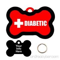 Customized Medical Alert DIABETIC Pet Tag - Bone Shape Dog Tag - B072PS5YQ9 id=ASIN
