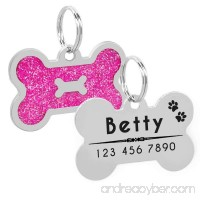 PET ARTIST Personalized Dog Tags Bling Glitter Bone ID Tag for Pets Medium Large Breed Dog - B07DBVJ7Z7